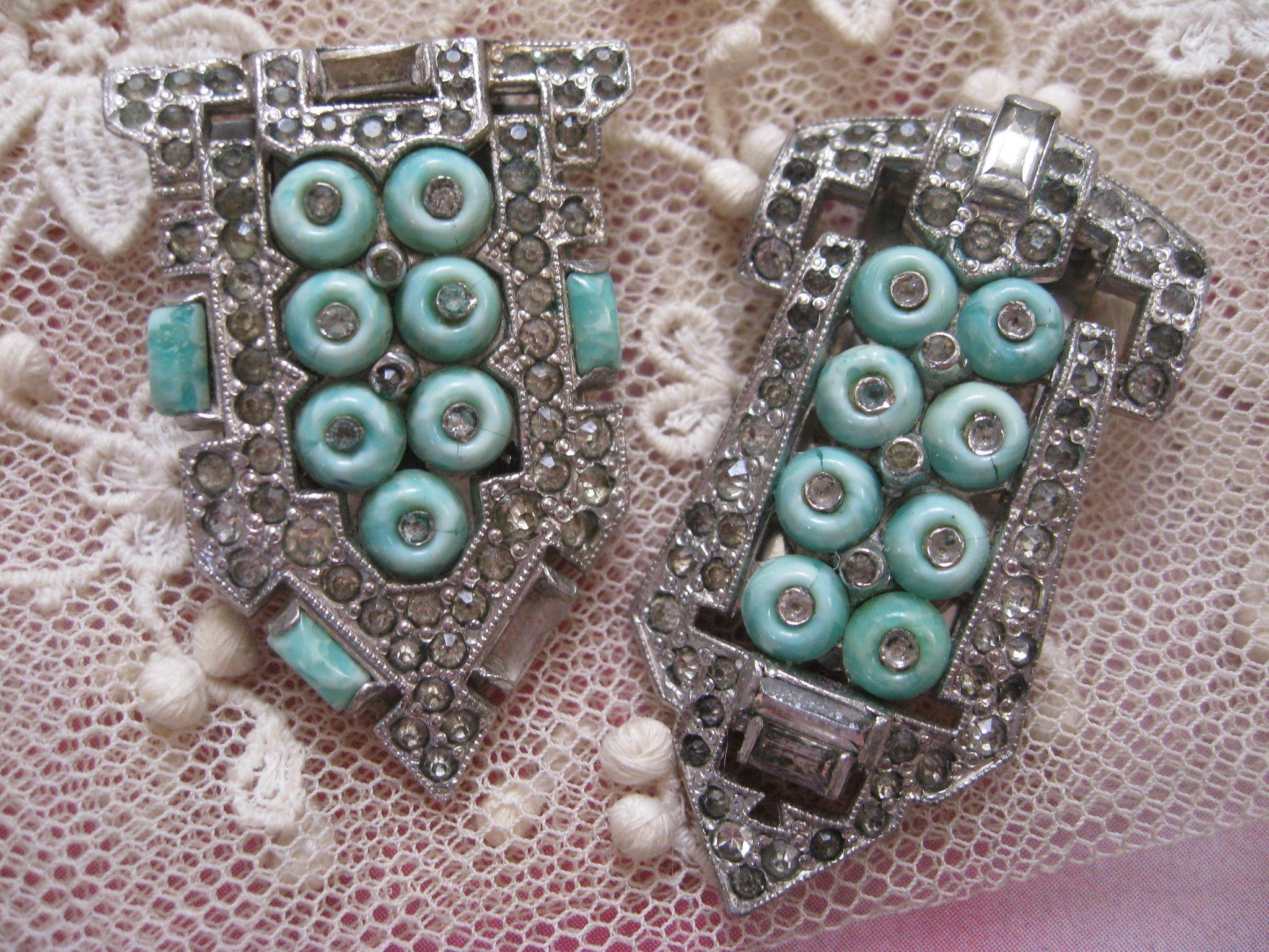 Ktf trifari fur clips reg 1935 art deco signed costume for Art deco costume jewelry