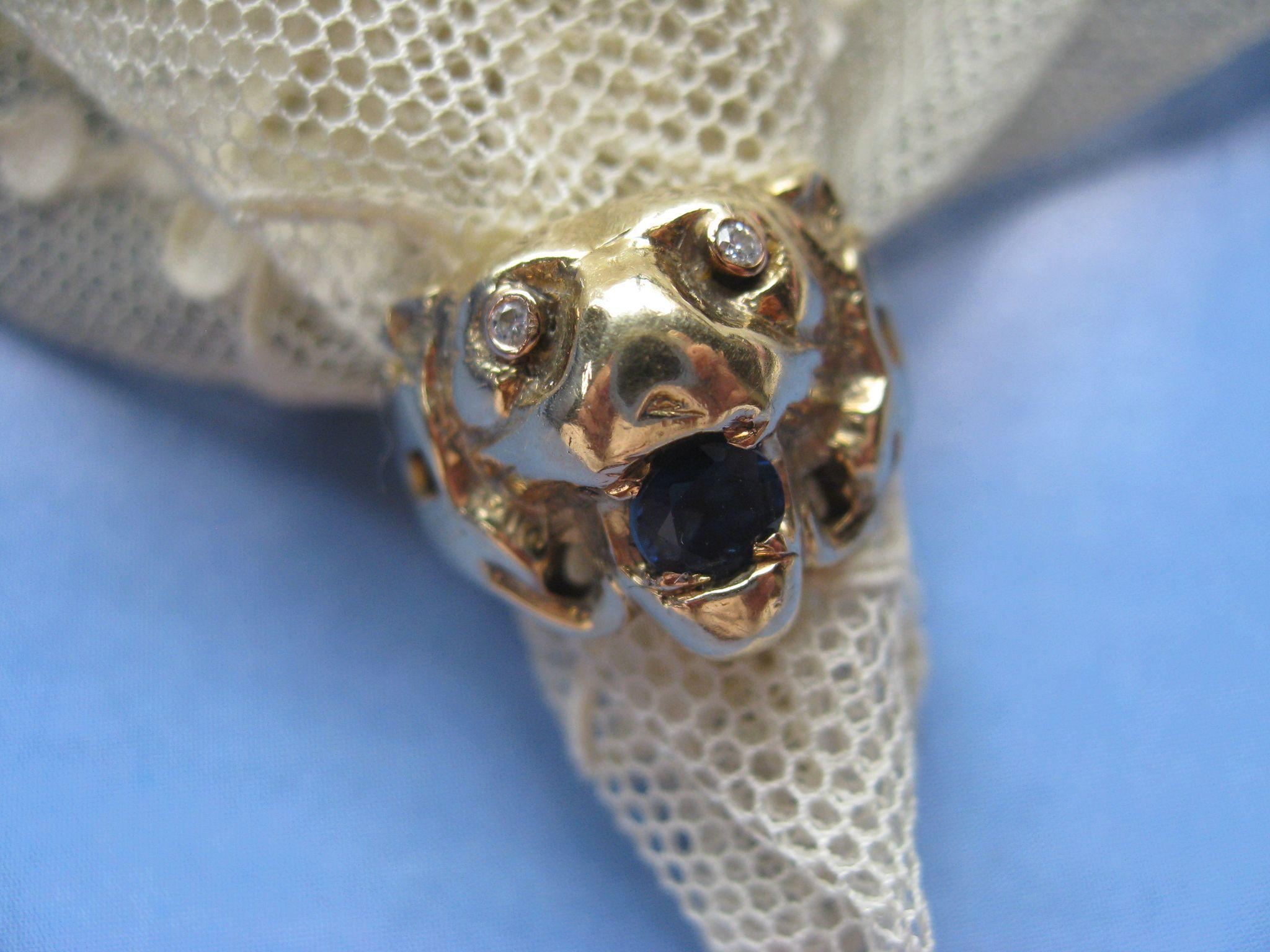 Vintage Sapphire Diamond 14K Lion Ring