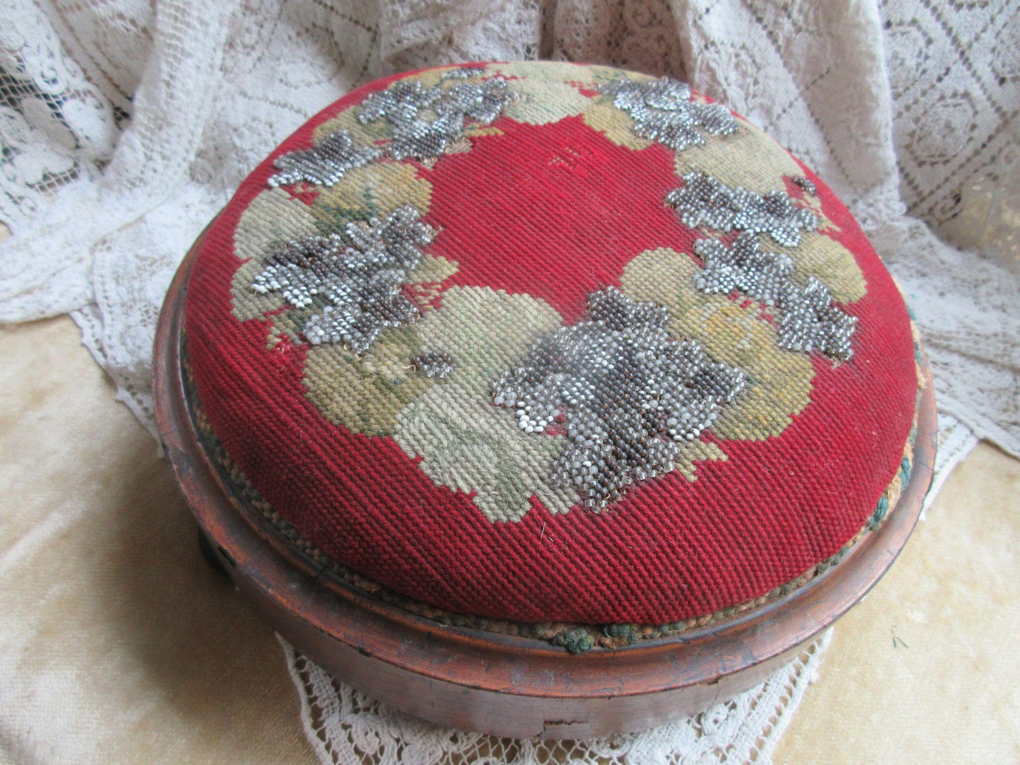 Antique Victorian Needle Work Tuffet Foot Stool