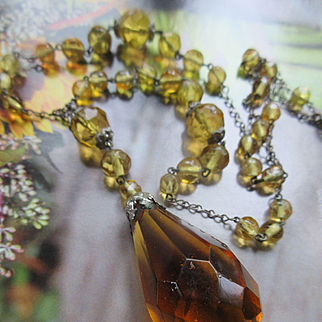 Vintage 1930s Czech Crystal Drop Necklace