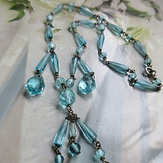 Vintage 20s 30s Aqua Blue Crystal Art Deco Era Necklace