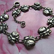 Vintage Sterling Roses For Mary Religious Devotional Bracelet