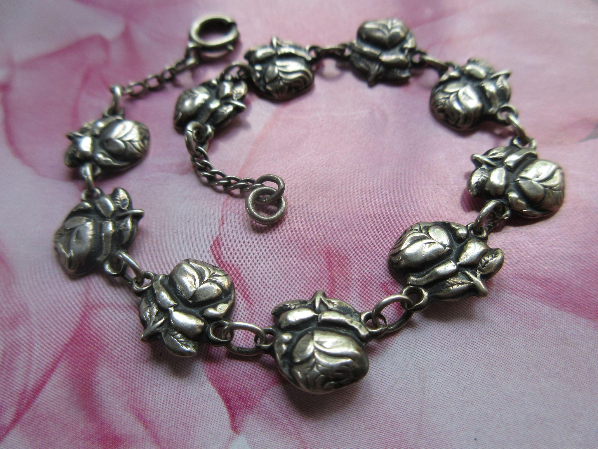 Vintage Sterling Roses For Mary Religious Devotional Bracelet