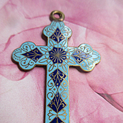 Antique French Enameled Cross Pendant