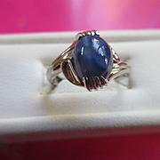 Vintage 10K Star Sapphire White Gold Ring