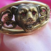 Antique Lion Bracelet with Paste Accents  Pat 1910    FMCO