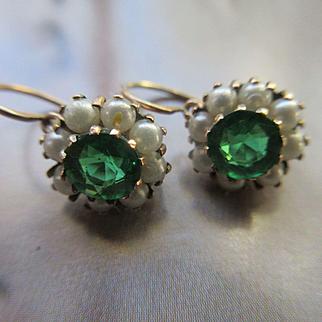 Victorian 10K Paste Pierced Earrings