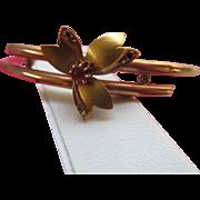 Antique 10K Floral Bangle Bracelet
