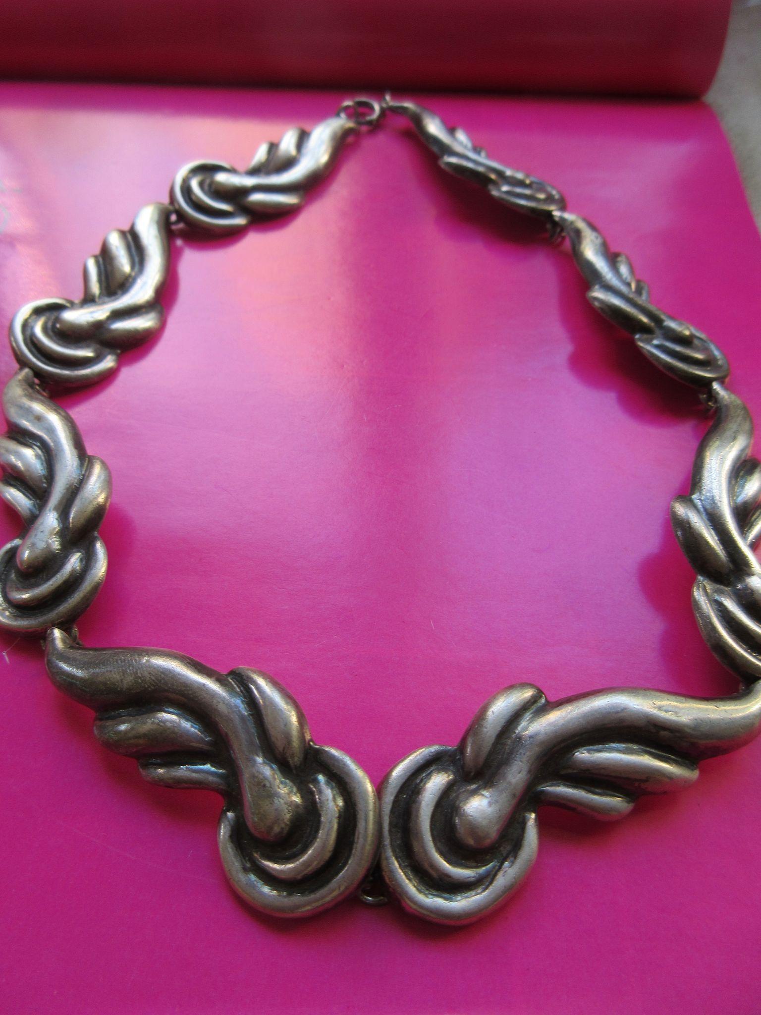 Vintage Lico Mexican Deco Repousse Sterling Necklace Pre Eagle