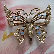 Antique 10K Opal Seed Pearl Butterfly Brooch