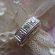 Art Deco circa 1920 10K Diamond Trilogy Ring