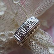 Art Deco circa 1920 10K Diamond Trilogy Ring