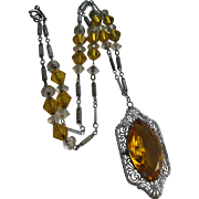 Vintage Deco Circa 1930 Crystal Filigree Necklace