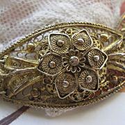 Vintage Spun Silver Gilt Floral Bracelet  800 Silver