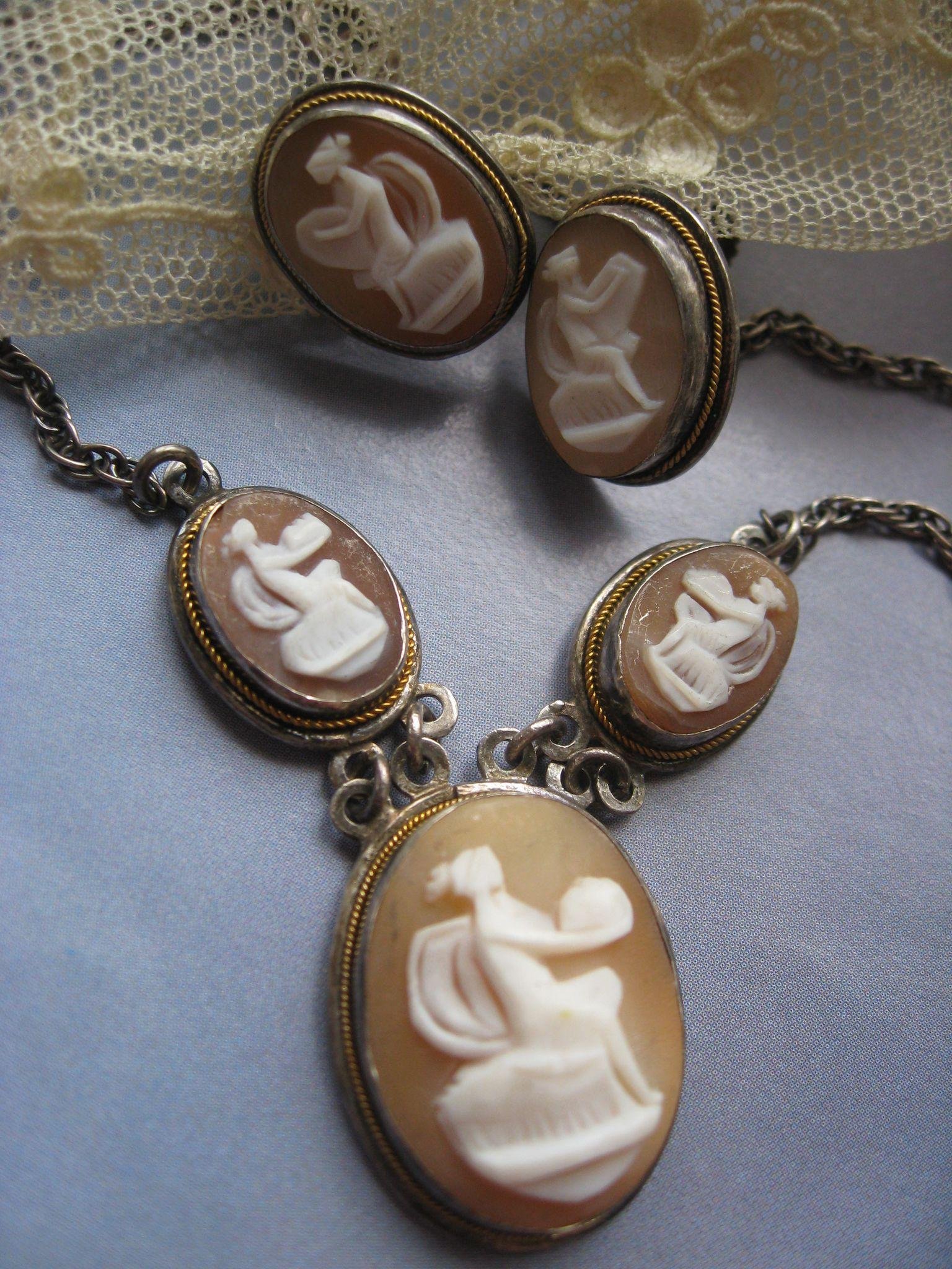 Vintage Deco Sterling Cameo Necklace and Earrings