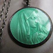 Vintage Deco Circa 1920 Enameled Blessed Mother Sterling Necklace