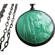 Vintage Deco Circa 1920 Enameled Blessed Mother Sterling Necklace