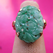 Vintage 10k Walter Lampl Jade Ring