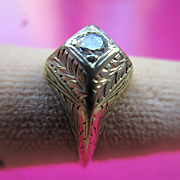 Vintage 14K Deco Diamond Ring Hand Engraved