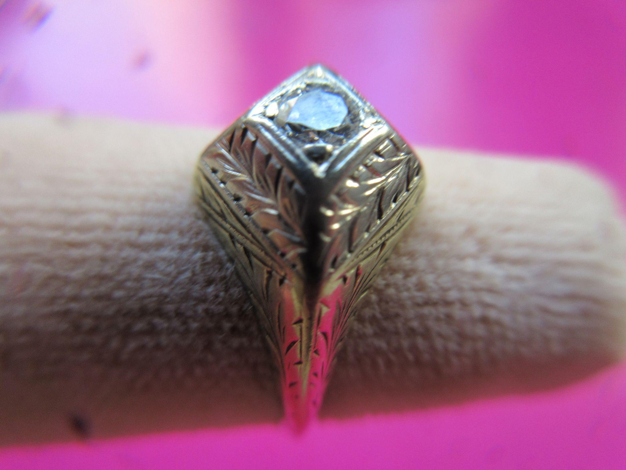 Vintage 14K Deco Diamond Ring Hand Engraved