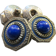 Vintage Deco 20s Snapping Cufflinks Blue Silver Toned Men's Accessories