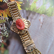 Antique Victorian Mesh Slide Bracelet in Gold Fill with Celluloid Cameo 1882