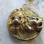 Victorian Repousse Lion Locket in Gold Fill