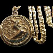 Antique Art Nouveau Crescent Moon Locket Necklace in Gold Fill