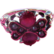 Antique 10K Ruby Doublet Seed Pearl Ring  Pinky Ring