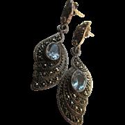 Vintage Sterling Blue Topaz Marcasite Pierced Earrings