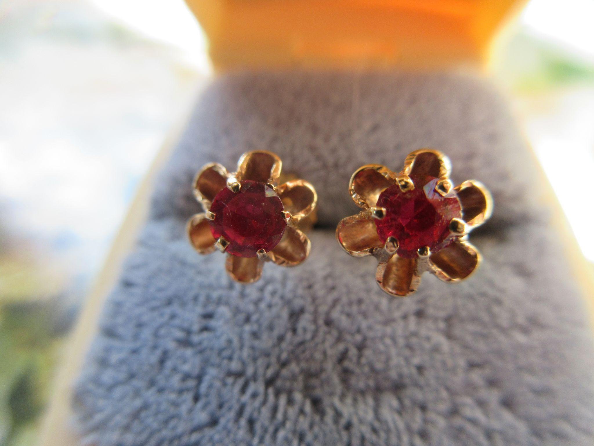 Antique 14K Ruby Doublet Pierced Earrings   Buttercup Settings