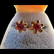 Antique 14K Ruby Doublet Pierced Earrings   Buttercup Settings