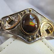 Vintage Sterling 18K Cuff Bracelet DK Hallmark  Native American