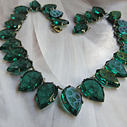 Vintage Circa 1920 Fishel Nessler FNCO Emerald Green Glass Intaglio Necklace