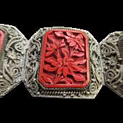 Deco Cinnabar Silver Toned Filigree Bracelet
