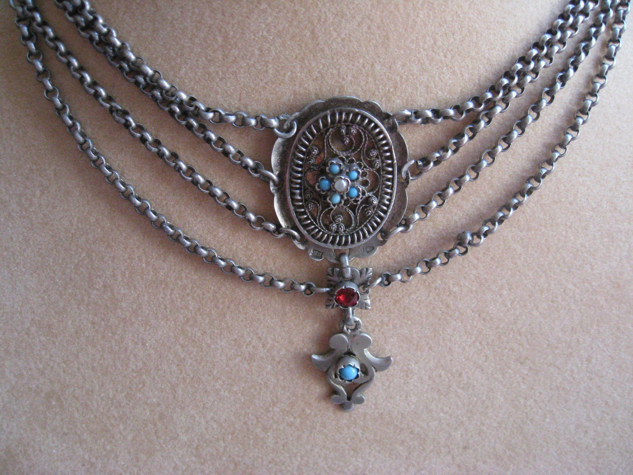 Antique Silver Persian Turquoise Seed Pearl Austro Hungarian Necklace