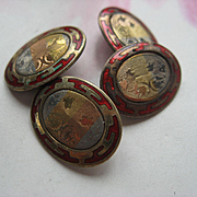 Vintage Enameled Deco Cufflinks 1920s Cuff Links
