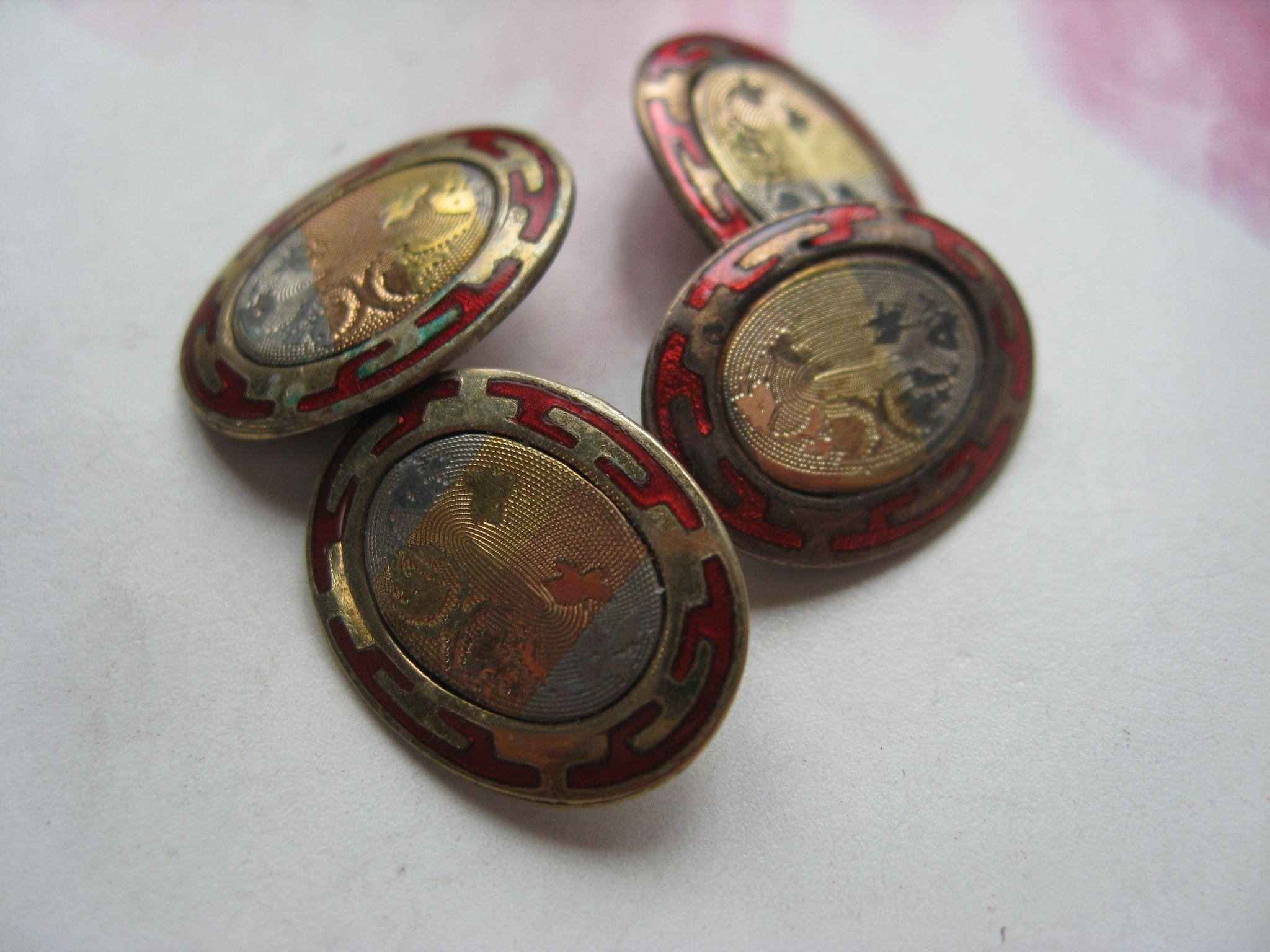 Vintage Enameled Deco Cufflinks 1920s Cuff Links