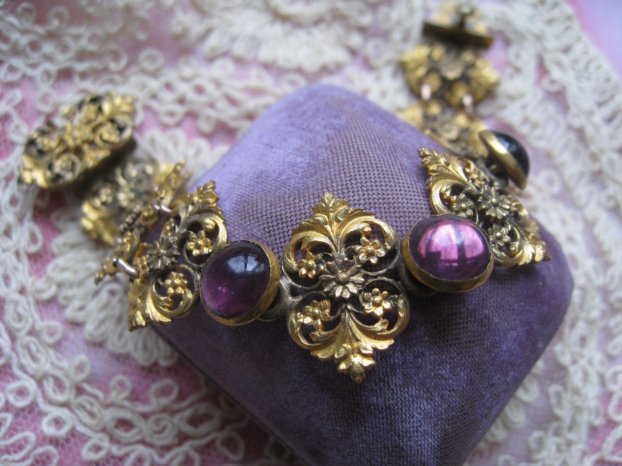 Victorian Jeweled Floral Link Bracelet in Gold Fill Antique Bracelet