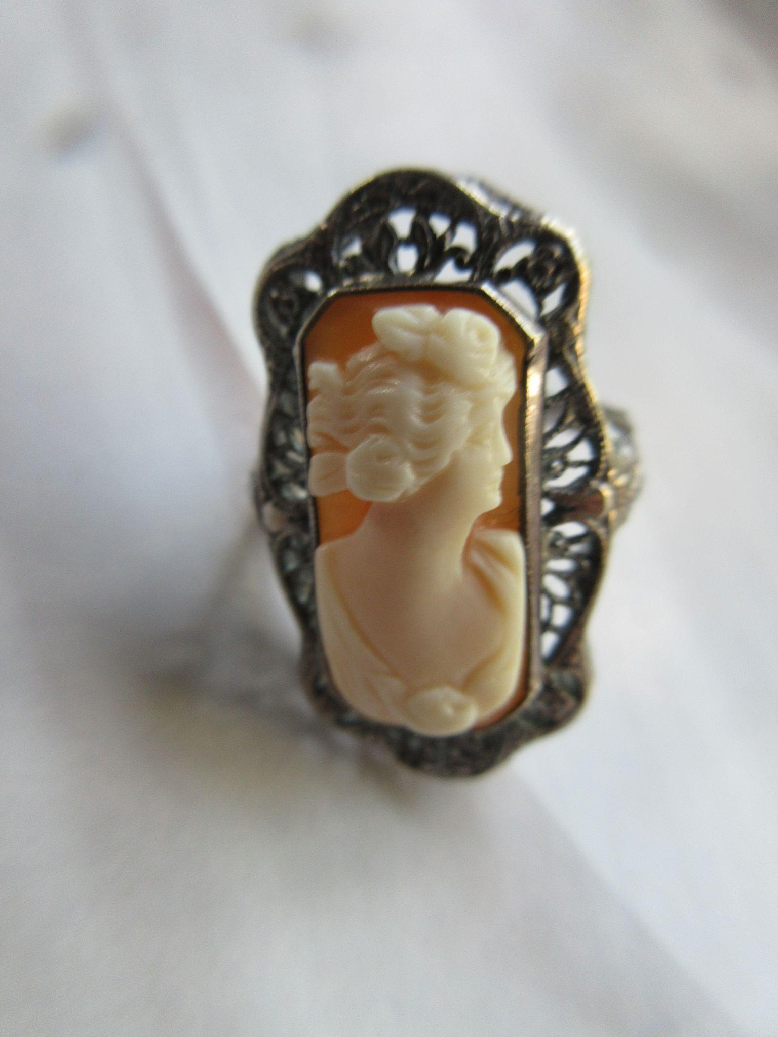 Deco Sterling Filigree Cameo Ring