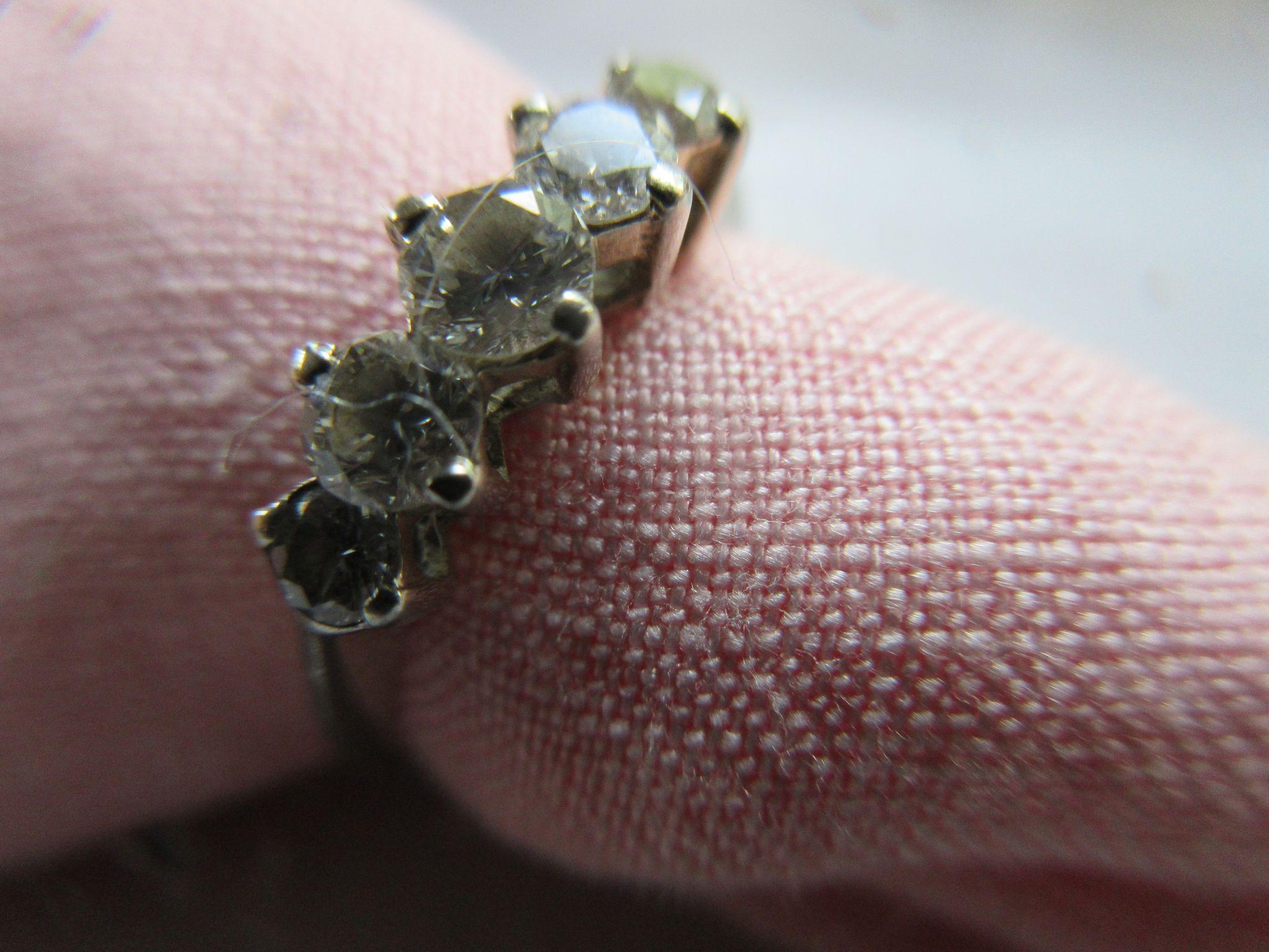 Vintage 14K White Gold Five Stone Diamond Band Diamond Ring