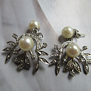 Vintage 14K White Gold Diamond Cultured Pearl Pierced Earrings Circa 1940