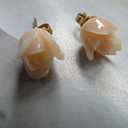 Vintage 14KT Carved Angel Skin Coral Rose Earrings