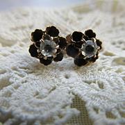 Antique 10K Paste Pierced Earrings Buttercup Settings