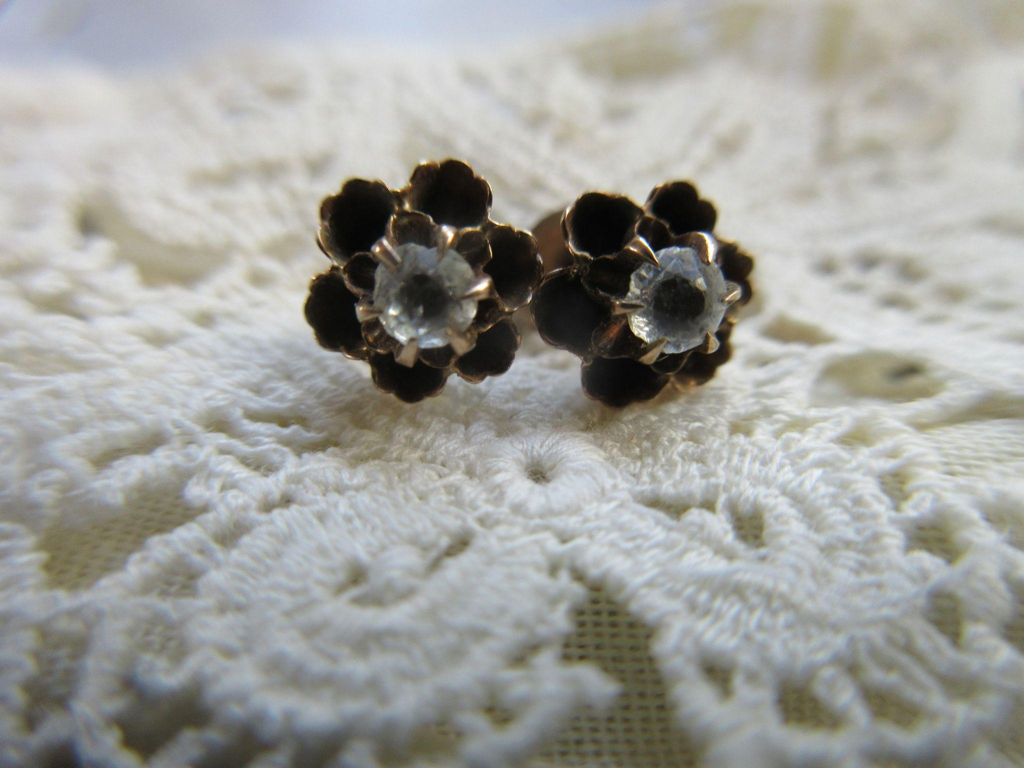 Antique 10K Paste Pierced Earrings Buttercup Settings