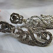 Vintage Deco Circa 1930 Sterling Marcasite Screw Back Earrings
