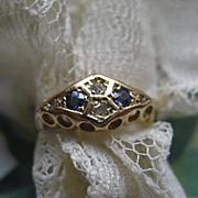 Antique Rose Cut Diamond & Blue Stone Ring 10K