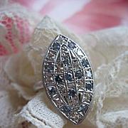 Vintage 14K Diamond and Blue Topaz Ring