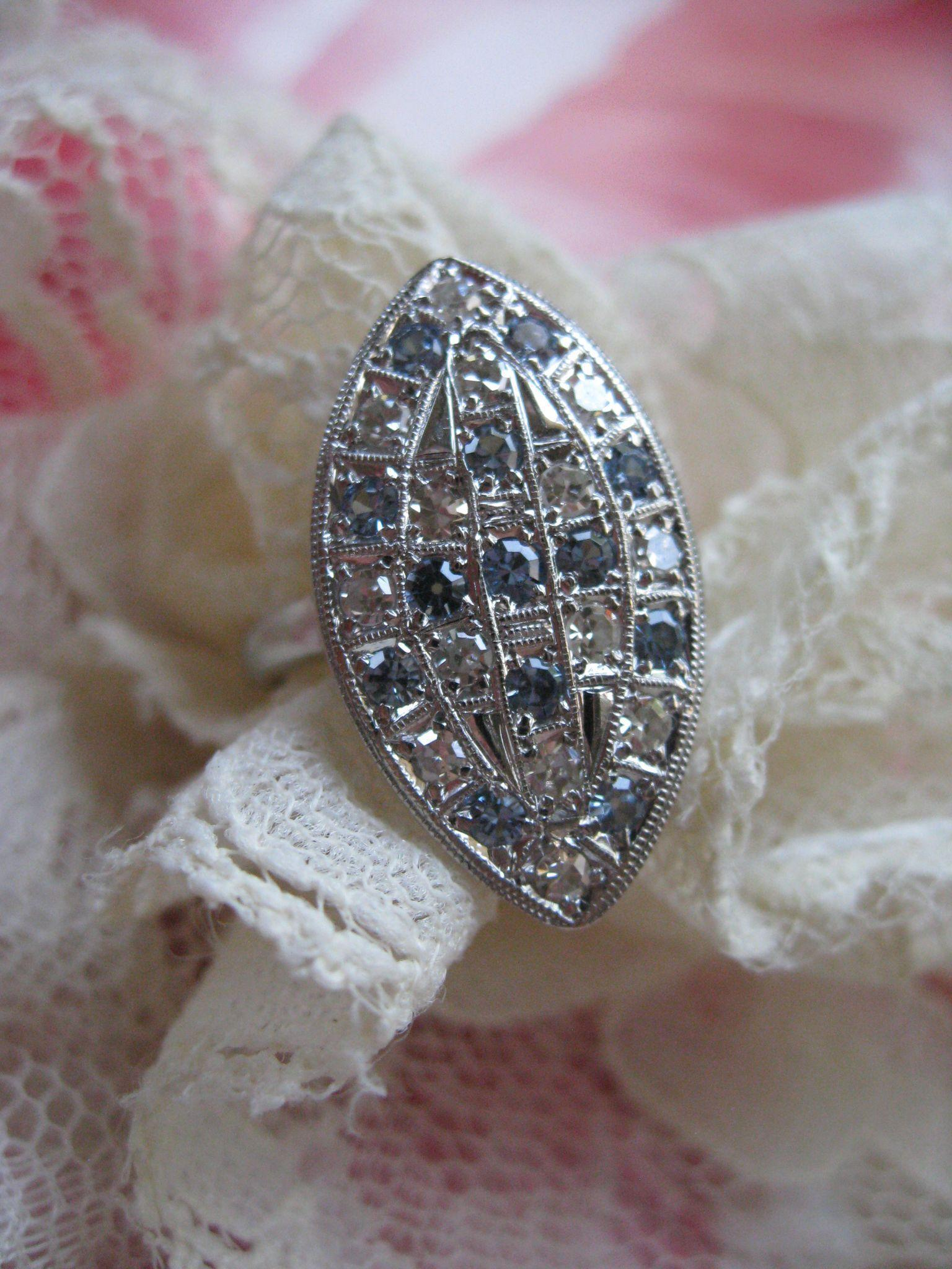 Vintage 14K Diamond and Blue Topaz Ring