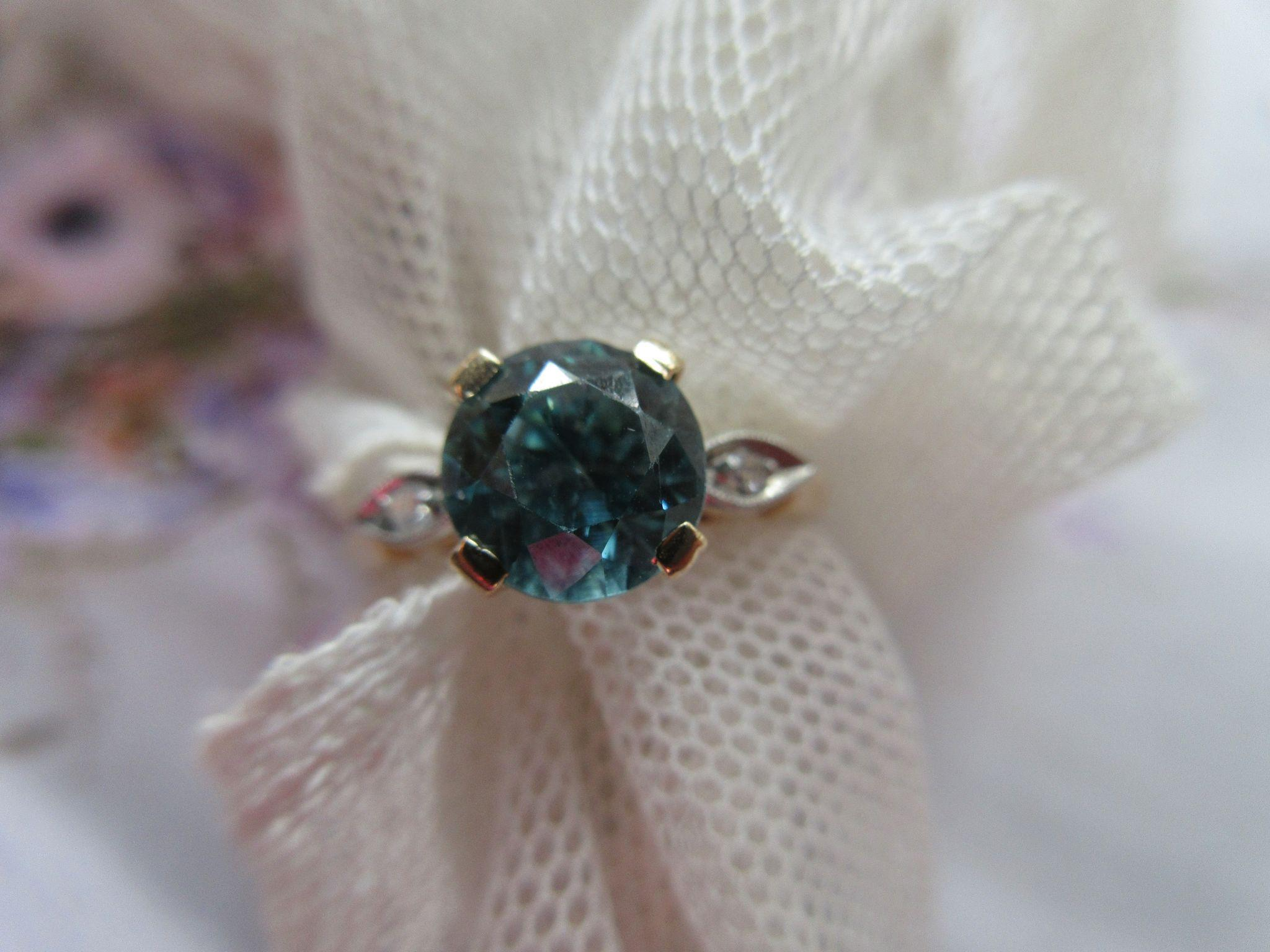 Vintage Deco 14K and Platinum Zircon Engagement Ring 1930s